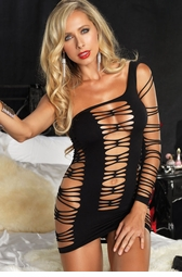 Seamless Shredded Asymmetrical Mini Dress