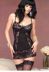 Butterfly Lace Shaping Mini Dress with Underwire Cups