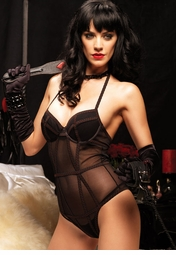 Mesh Halter Underwire Teddy with Vintage Girdle Stitching Detail