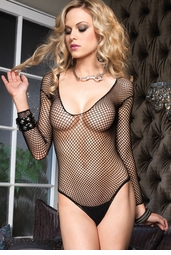 Industrial Net Fishnet Long Sleeve Bodysuit