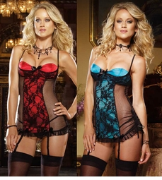 Peek Satin and Lace Garter Mini Dress with Adjustable Side Shirring