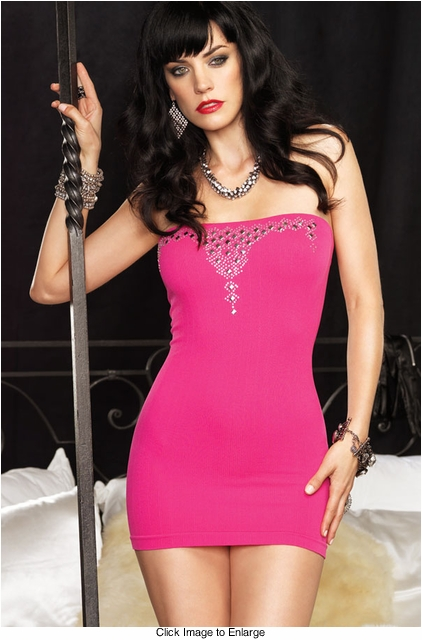 Ribbed Fuchsia Tube Mini Dress with Sparkle Accents