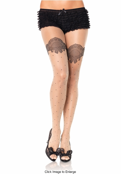 Sheer Spandex Pantyhose with Lace Accent