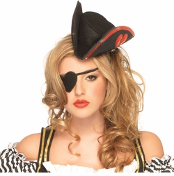Pirate Hat with Red Sequin Trim and Heart Eyepatch