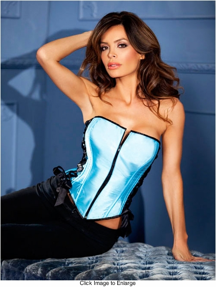 Blue Satin Corset with Side Lacing