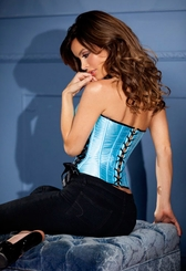 Blue Satin Corset with Side Lacing (available up to size 38)