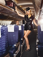 Mile High Stewardess Costume with Shirt, Skirt, Scarf and Hat