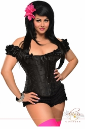 Embroidered Peasant Top Corset with Steel Boning