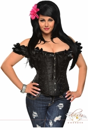Black Steel Boned Embroidered Peasant Top Corset Top