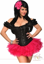 Plus Size Embroidered Peasant Top Corset & Pink Pettiskirt