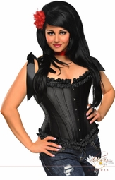 Black Tie-Strap Steel Boned Corset Top