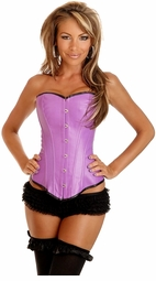 Purple Faux Leather Corset with Lace-Up Back