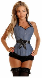Denim Corset with Lace-Up Back