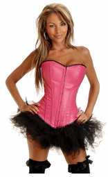 Pink Faux Lather Corset and Petticoat
