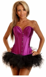 Purple Satin Corset and Pettiskirt