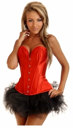 Red Satin Corset and Pettiskirt