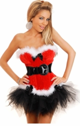 Santa Baby Christmas Velvet Corset and Pettiskirt Set