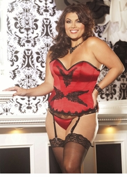Plus Size Ruby Red Satin Corset with Lace-Up Back