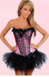 Pink Satin Corset with Bow Lace and Pettiskirt