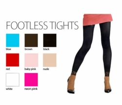 Opaque Nylon Legging Tights with Lace Trim