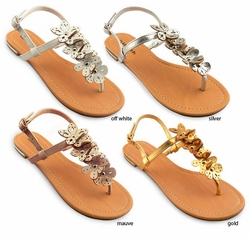 Metallic Colored Thong Sandals with Flower Detail