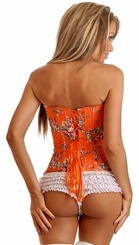 Orange Floral Strapless Corset with Lace Up Back