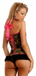 Camouflage Halter Front Corset with Removable Belt