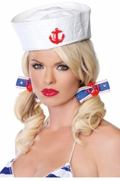 Sailor Girl Hair Bows with Anchor Charm