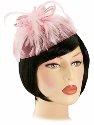 Pink Feather Fascinator Retro Hat