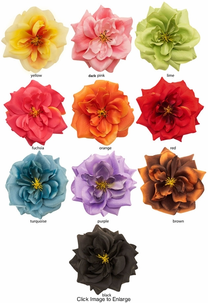 "5"" Country Rose Flower Hair Clip (available in 15 colors)"