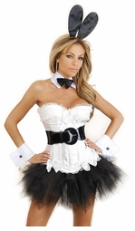 White Corset Bunny 6-Piece Costume