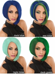 Chic Wig in Blue Colors