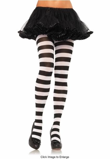 Wide Stripe Opaque Pantyhose