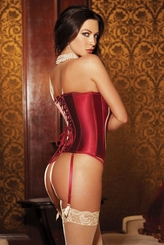 Hourglass Satin Contour Corset in Rumba Red and Taupe