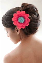 "3.5"" Fuchsia Pink Flower Hair Clip with Flower Center"