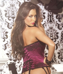 *SALE Jet Crystal Magenta Satin Corset with Glam Lace Overlay and Lace-Up Back (available up to size 38)