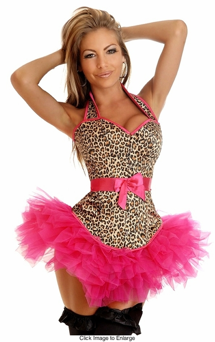 Leopard Halter Front Corset with Removable Belt and Matching Pettiskirt
