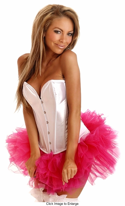 White Satin Corset with Lace-up Back and Pettiskirt