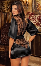 Robe with Lace Back and G-string
