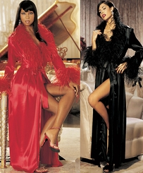 Super Glam Long Ostrich Trimmed Robe