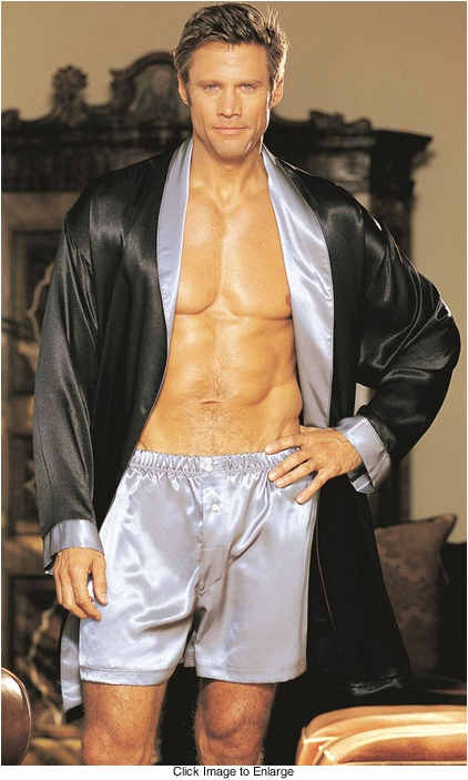 Two Tone Silky Robe for Men