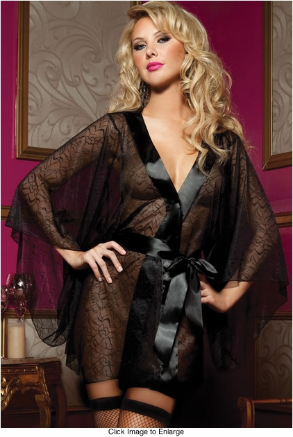 Luxe Floral Lace Robe with Kimono Sleeves