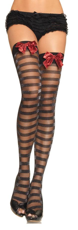 Lurex Striped Sheer Thigh Highs with Glitter Bow Top