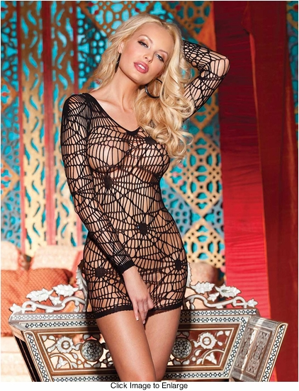 Spider Net Long Sleeve Mini Dress