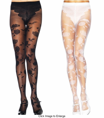 French Flower Sheer Pantyhose