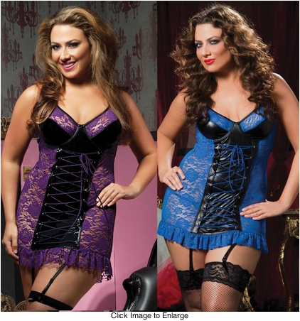 Plus Size Lace Mini Dress with Thong