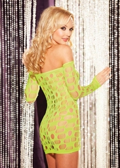 Long Sleeve Open Net Mini Dress