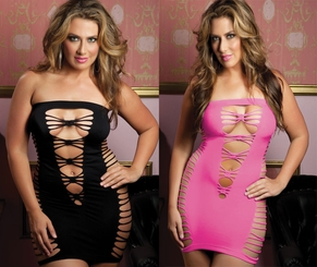 Queen Size Seamless Mini Dress with Cut-outs