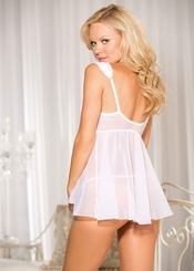 White Wedding Chiffon and Lace Babydoll