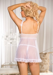 Lace Babydoll with Pink Lined Cups and G-string